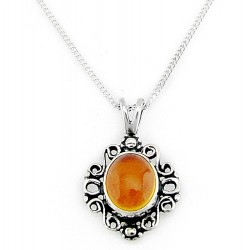 Sterling Silver Amber Pendant with Necklace