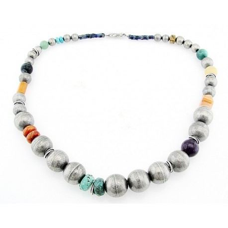 Southwestern Sterling Silver Necklace with Gemstones