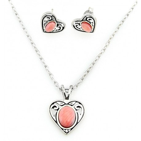 Sterling Silver Heart Necklace and Earring Set with Pink Coral