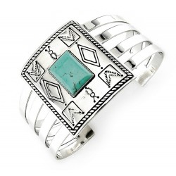 Victoria Adams Sterling Silver Cuff Bracelet with Turquoise