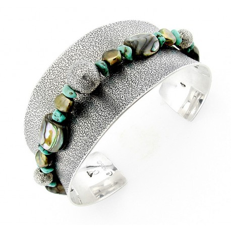 Southwestern Sterling Silver Cuff Bracelet with Gemstones CP Signature