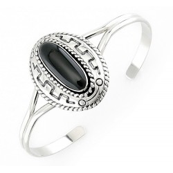 Southwestern Sterling Silver Cuff Bracelet with Black Agate