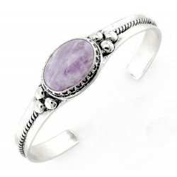 Southwestern Sterling Silver Cuff Bracelet with Cape Amethyst