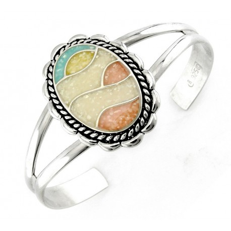 Southwestern Sterling Silver Cuff Bracelet with Mosaic Inlay