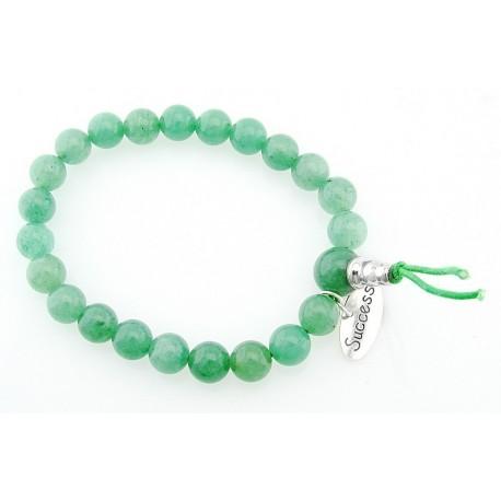 Aventurine Stretch Bracelet with Sterling Silver Success Charm