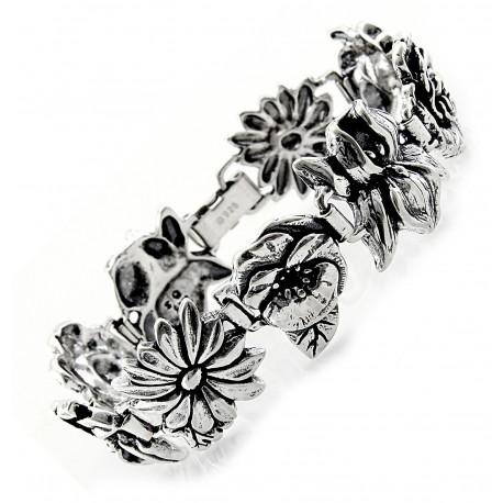 Sterling Silver Flowers Bracelet