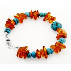 Southwestern Amber and Turquoise Bracelet with Sterling Silver