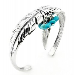 Southwestern Sterling Silver Feather Cuff Bracelet w Turquoise
