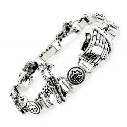 Sterling Silver Noah Ark Religious Bracelet