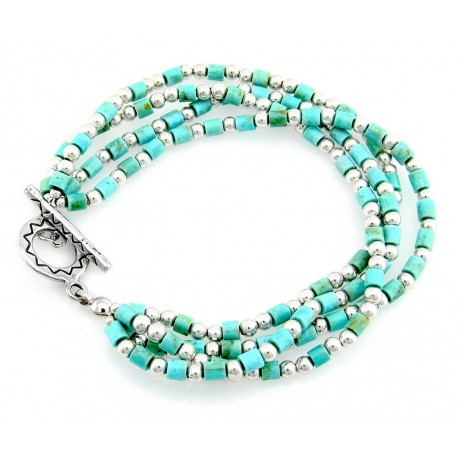 Southwestern Sterling Silver Turquoise Toggle Bracelet
