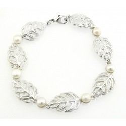 Sterling Silver Leaf Bracelet with Pearl
