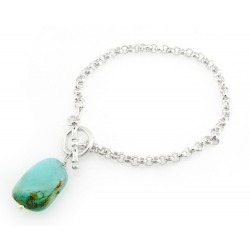 Sterling Silver Toggle Bracelet with Turquoise