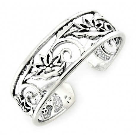 Sterling Silver Cuff Bracelet with Flowers
