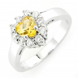 Sterling Silver Heart Citrine Ring with Cubic Zirconia