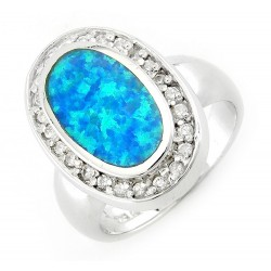 Sterling Silver Oval Opal Ring with Cubic Zirconia