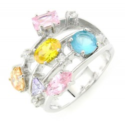 Sterling Silver Cocktail Ring with Multicolored Cubic Zirconia