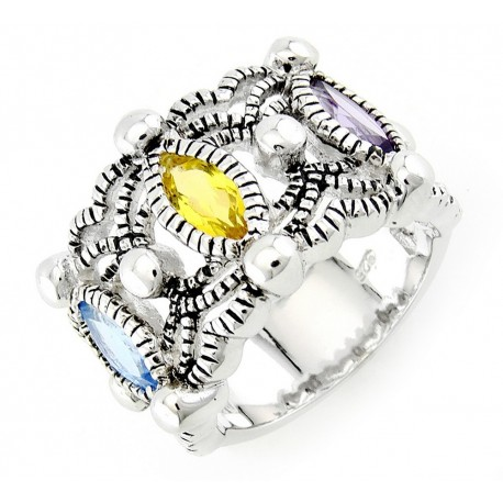 Sterling Silver Cocktail Ring with Gemstones