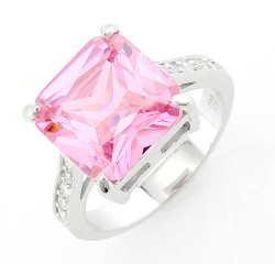 Sterling Silver Ring with 12MM Pink CZ