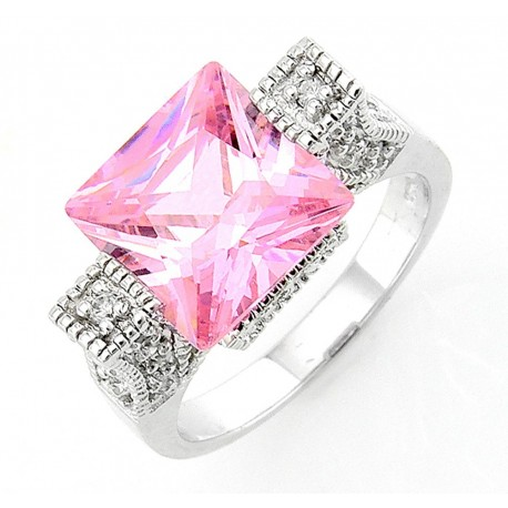Sterling Silver Ring with Cube Pink CZ