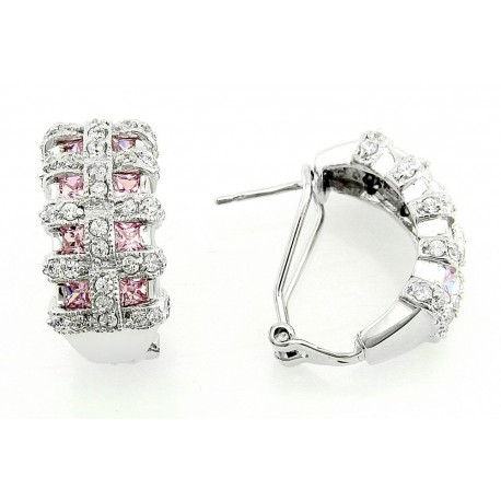 Sterling Silver Earrings with Pink and Clear CZ
