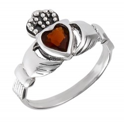 Sterling Silver Claddagh Ring with Synthetic Garnet