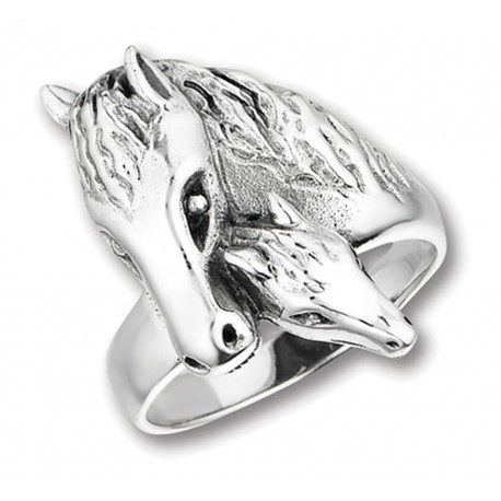 Sterling Silver Horse with Foal Ring