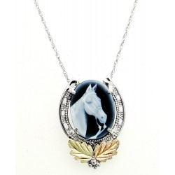 Black Hills Gold on Sterling Silver Cameo Horse Pendant