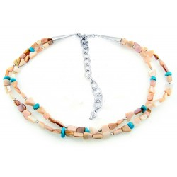 Carolyn Pollack Mother of Pearl and Turquoise Necklace