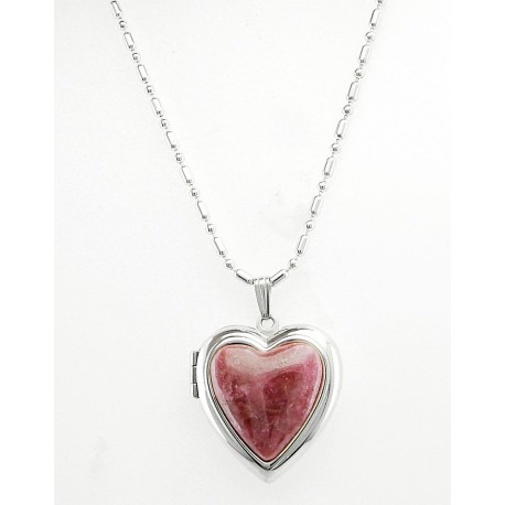 Sterling Silver Rhodonite Heart Locket with Necklace