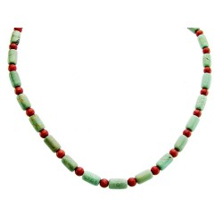 Sterling Silver Turquoise Tube and Coral Bead Necklace Carolyn Pollack