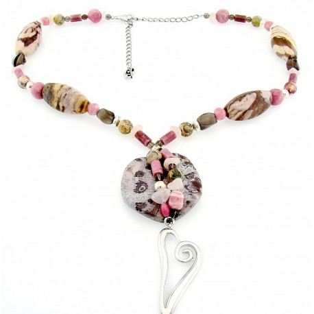 Sterling Silver Heart & Gemstone Bead Necklace