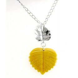 Carolyn Pollack Sterling Silver Necklace with Yellow Jasper Leaf Pendant