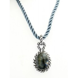 Carolyn Pollack Sterling Silver and 18Kt Gold Moonstone Pendant w Cord Necklace