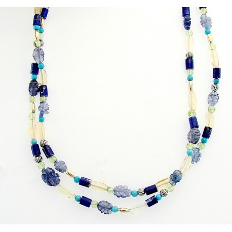 Sterling Silver & 14K Gold Gemstone Necklace