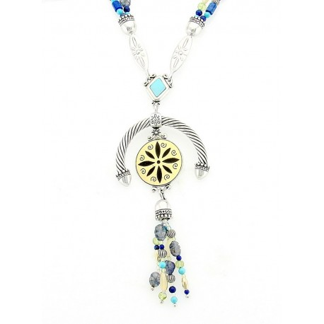 Carolyn Pollack Sterling Silver and 14Kt Gold Gemstone Necklace with Medallion
