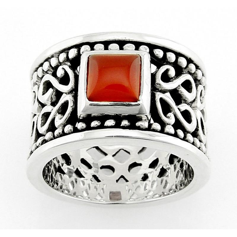 Bali Sterling Silver Ring With Carnelian Jewelry Farm