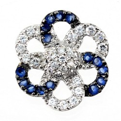 Sterling Silver Flower Pendant with CZ and Synthetic Sapphire