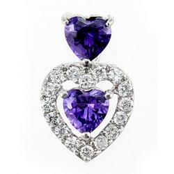 Sterling Silver Heart Pendant with CZ and Synthetic Amethyst