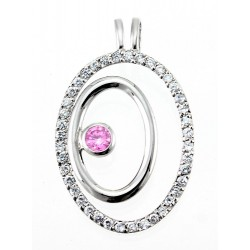 Sterling Silver Double Oval Pendant with CZ