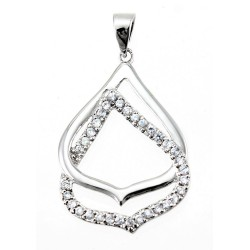 Rhodium Plated Sterling Silver Pendant with CZ
