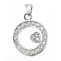 Rhodium Plated Sterling Silver Circle Pendant with Heart and CZ