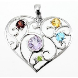 Large Sterling Silver Heart Pendant with Gemstones