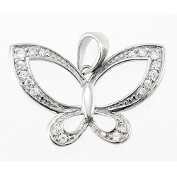 Sterling Silver Butterfly Pendant with CZ