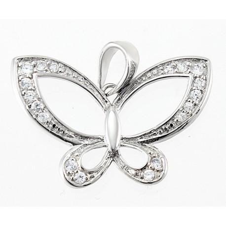 Sterling Silver Butterfly Pendant w CZ