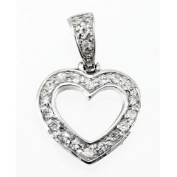 Small Sterling Silver Heart Pendant with CZ