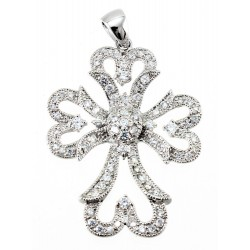 Large Sterling Silver Cross Pendant with CZ