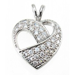 Rhodium Plated Sterling Silver Heart Pendant with CZ