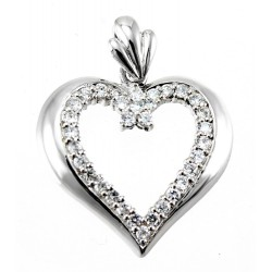 Rhodium Plated Sterling Silver Large Heart Pendant with CZ