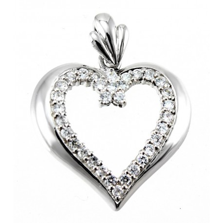 Rhodium plated sterling silver large heart pendant with cz jewelry sterling silver heart pendant with cz aloadofball Choice Image