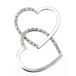Sterling Silver Loose Double Heart Pendant with CZ
